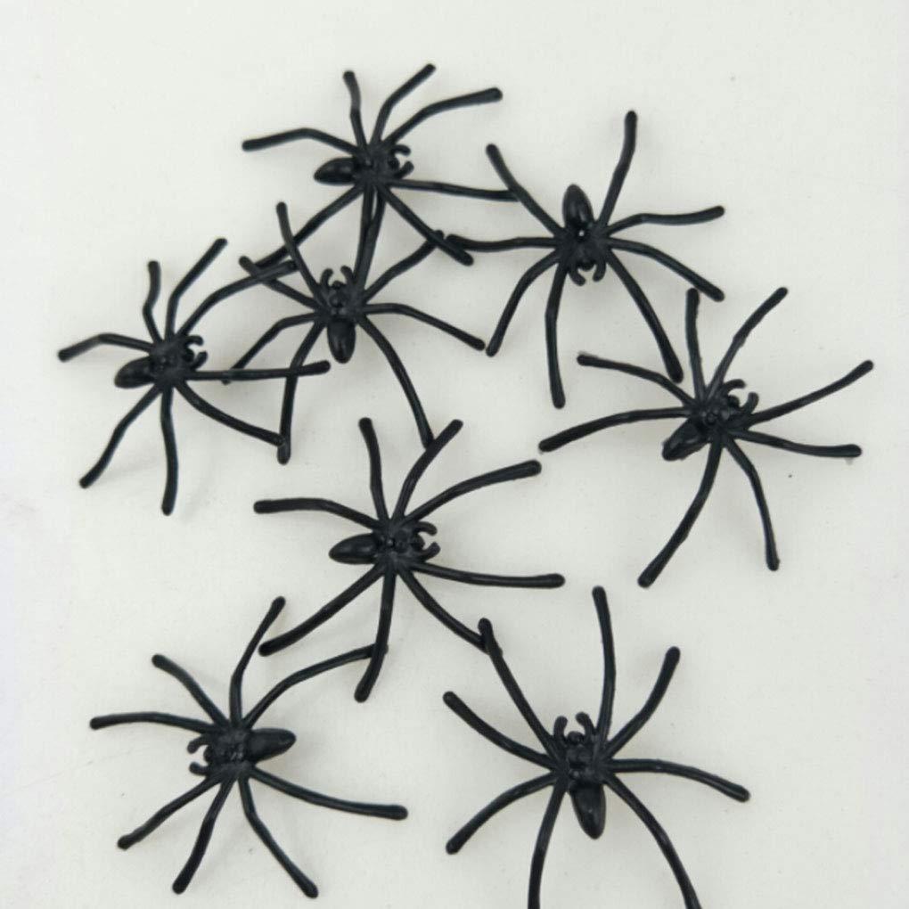 Bomcomi Halloween Fake Plastic Spider Candid Puntelli realistici Spider Prank Halloween Party la Decorazione 100pcs