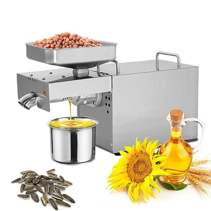 Bespick Máquina de Prensa de Aceite 3-6kg / H Prensa Automática de Expulsión de Aceite Eléctrica Caliente y Frío para Nueces Cacahuete Semillas 750 W 12 KG: ...