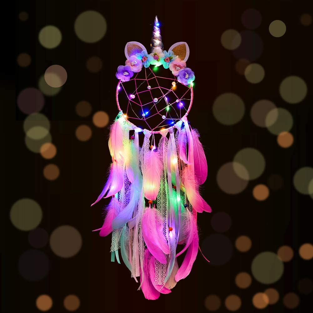 FIODAY Unicorn Dream Cather Wall Decor Led Dream Catchers with Light Colorful Feather Dreamcathers for Girls Gift Home Hanging Decor for Bedroom(Pink)