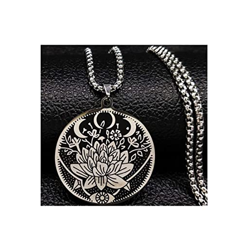 Amazon.com: Lotus Eyes Moon Stainless Steel Necklace Jewelry ...