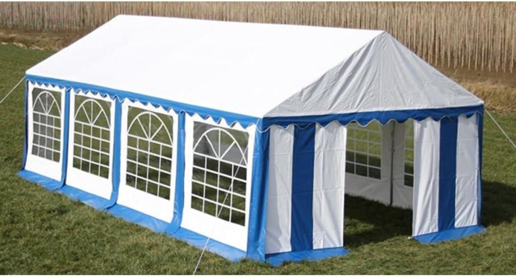 Tidyard Carpa de Jardín para Camping Eventos Fiestas Boda con Marco de Hierro 4x8x3,10m Azul y Blanco