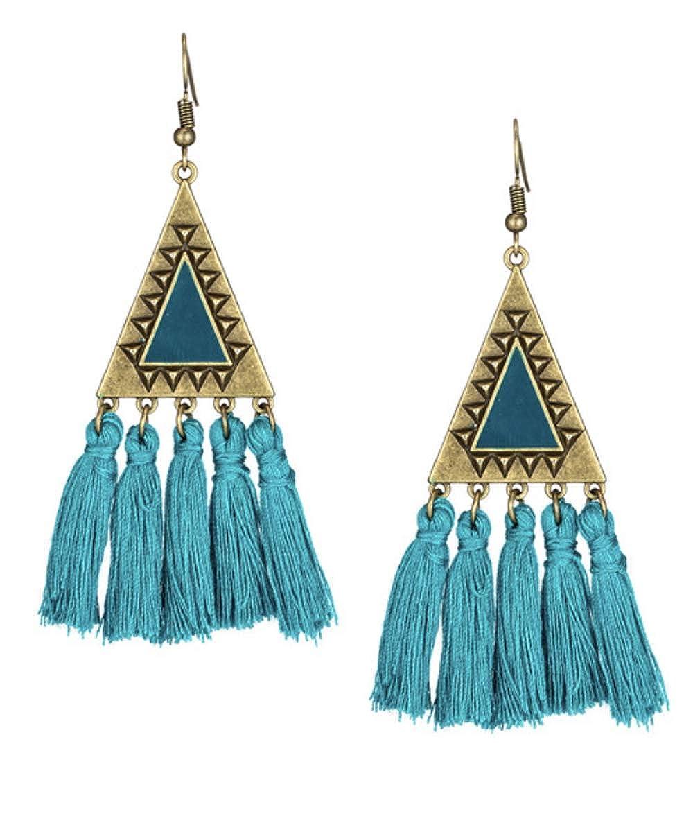 LOVEDUSTS Bohemian Yarn Tassel geometric Drop Dangle Earrings