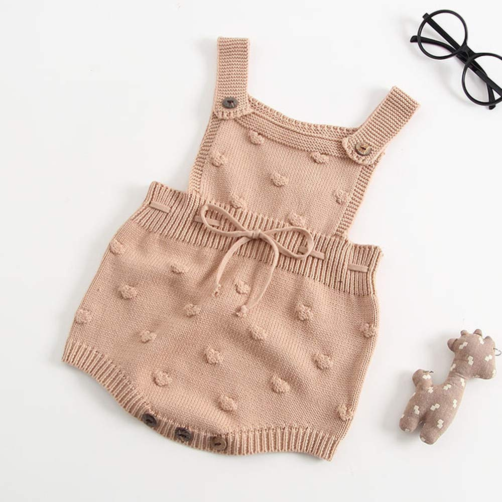 Amazon.com: Lollyeca Newborn Baby Boys Girls Knit Romper Bodysuit ...