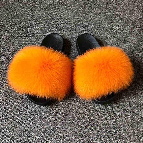 - CICORefu New Fox Fur Slippers Summer Fur Slides Women Sliders Flip Flop Lady Outdoor Indoor Sandal Natural Orange 36