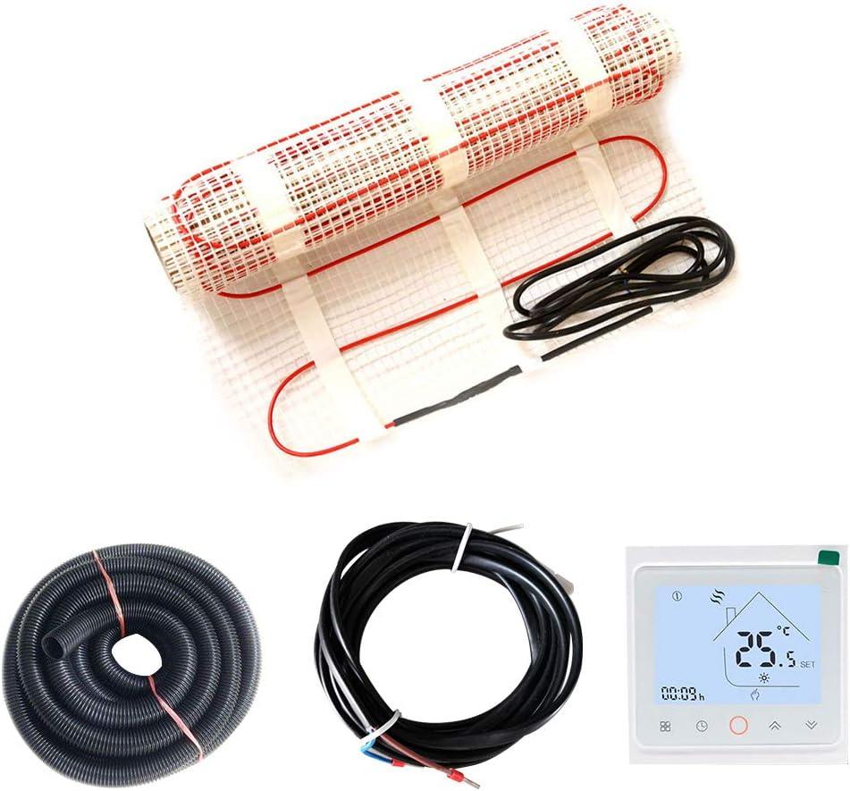 Certificaci/ón ROHS y CEC InLoveArts Estera de calefacci/ón por suelo radiante con termostato WIFI Estera de calefacci/ón radiante el/éctrica de 30 pies cuadrados