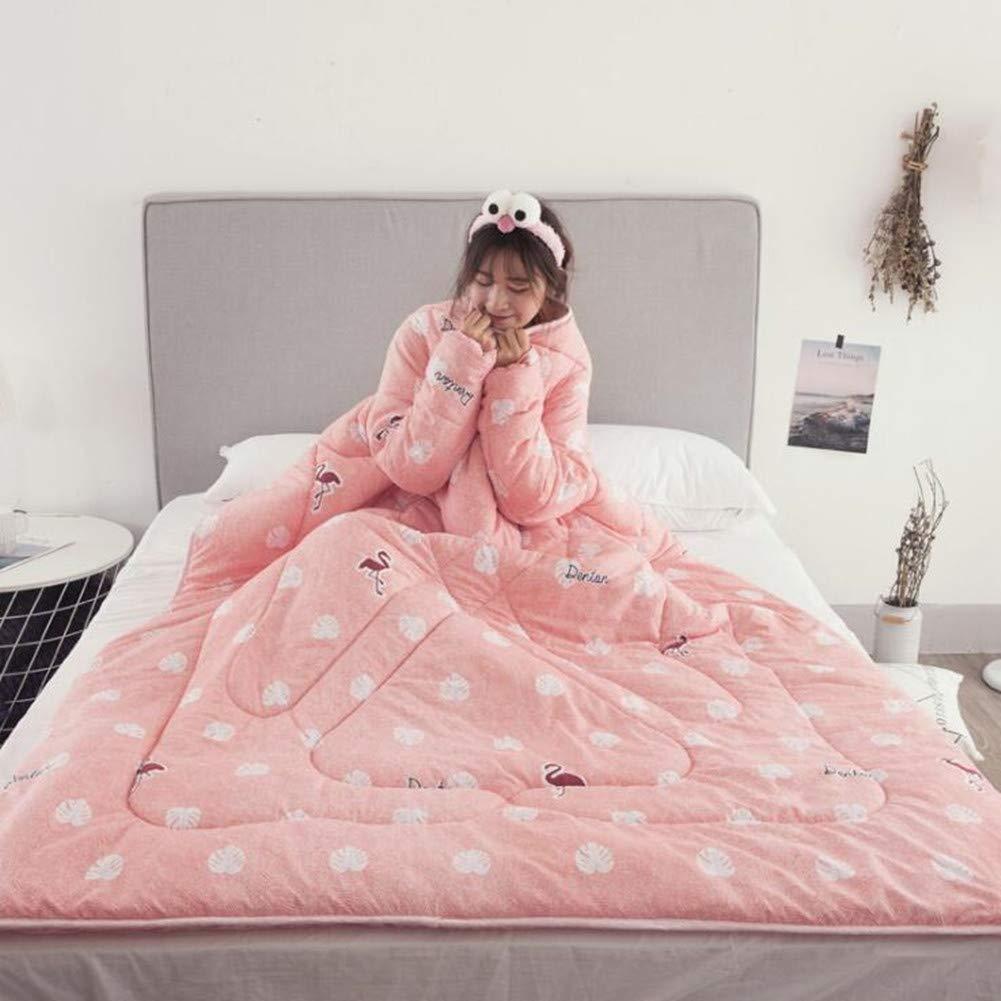 HBVAN Decke mit Ärmeln Tragbar Ärmeln Steppdecke Wirft Warme Decken für Frauen Männer Mädchen Jungen,150x200cm (Rosa-Blatt)