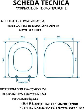 Copriwater per HATRIA MARILYN SOSPESO TERMOINDURENTE BIANCO cerniera inox normale o rallentata soft close Normale Cerniera//Chiusura