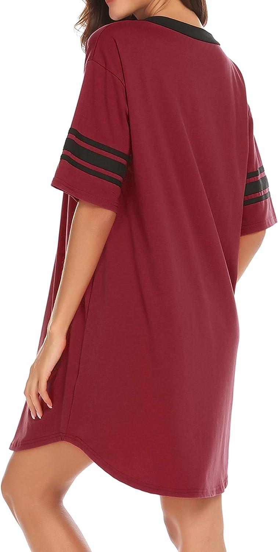 Cotton Sleep Shirt V Neck Short Sleeve Loose Comfy Pajama Sleepwear S-XXL Ekouaer Womens Nightgown