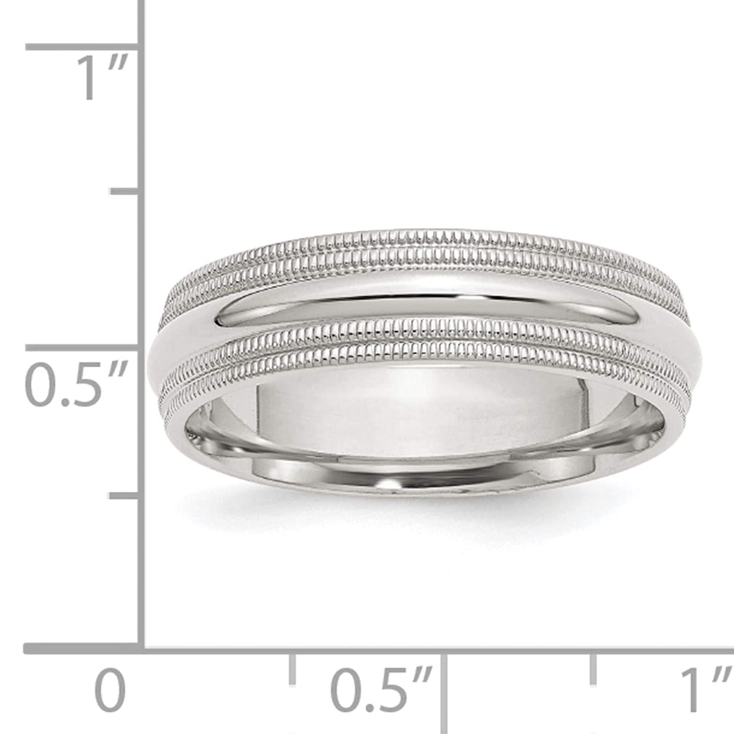 925 Sterling Silver Polished 6mm Comfort Fit Double Milgrain Wedding Ring Band Size 4-13.5