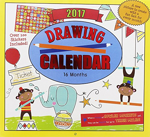 2017 Monthly Wall Calendar - Drawing - Kids Children Boys Girls
