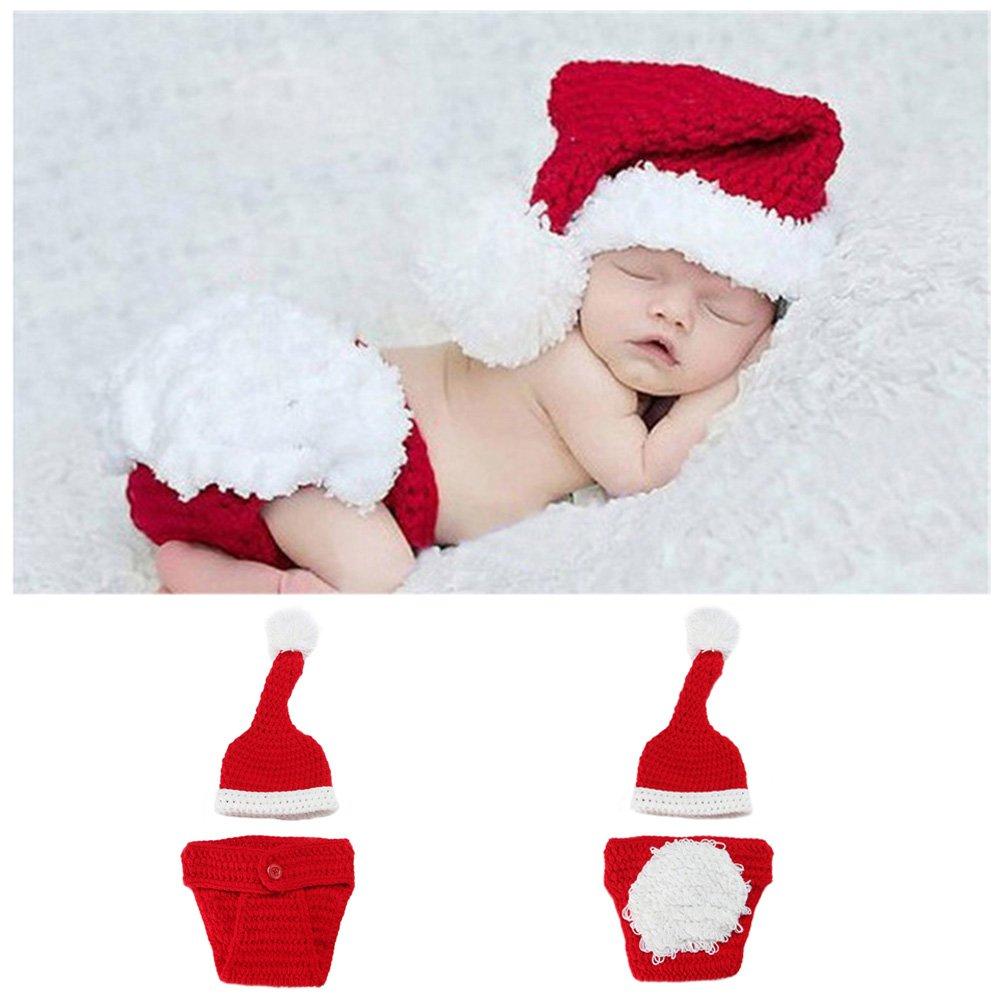 Ocamo Unisex bebé recién Nacido de Punto de Navidad Lindo Conjunto, Traje de Papá Noel, Gorro de Punto a Mano + Calcetines + Pantalones Conjunto de niños ...