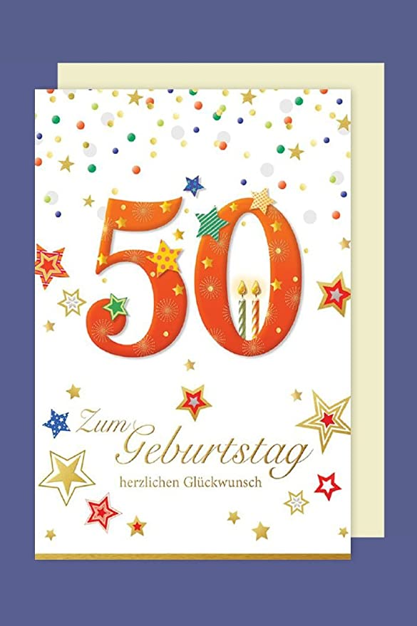 Tarjeta de felicitación 50 cumpleaños Handmade Aplicaciones ...