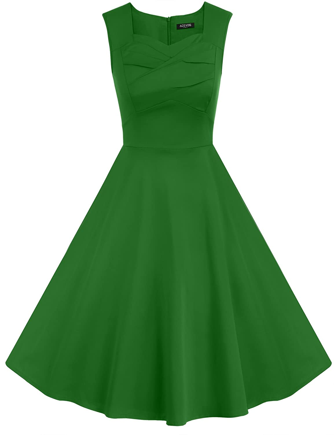 ACEVOG Women 1950s Vintage Retro Capshoulder Party Swing Dress