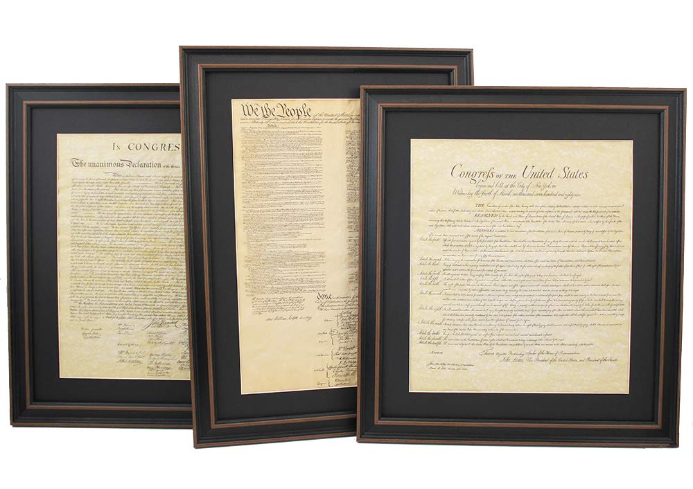 Patriot Gear Company | Framed Constitution, Bill of Rights, and Declaration of Independence Set; Standard Size : Replica Historical Documents; Patriotic or Lawyer Gift