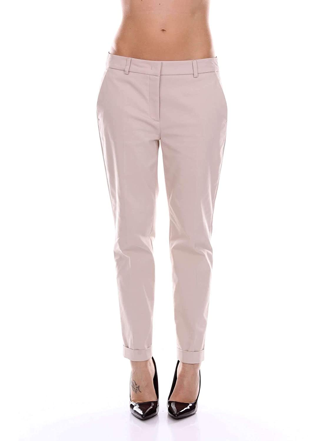Diana Zini Women's 011956317849BEIGE Beige Cotton Pants