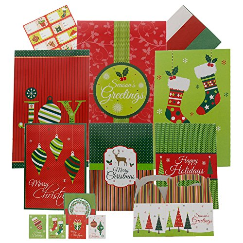 Complete Christmas Gift Wrapping Kit- 44 Piece Kit Including Gift Boxes, Gift Tags, Stickers, and Tissue - Multicolor Multi Design Red, Green, White, Assorted Sizes -