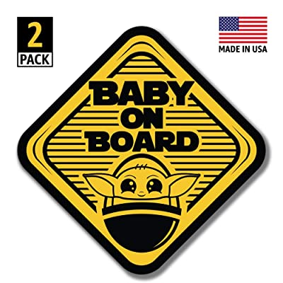 Baby Yoda On Board Large (5x5) Vinyl Decal Stickers Gift Set of 2 - for Cars, Trucks, Window, Bumper, Hydro Flask, MacBook, Luggage, Wall Decor (Stickers): Arts, Crafts & Sewing [5Bkhe0810289]