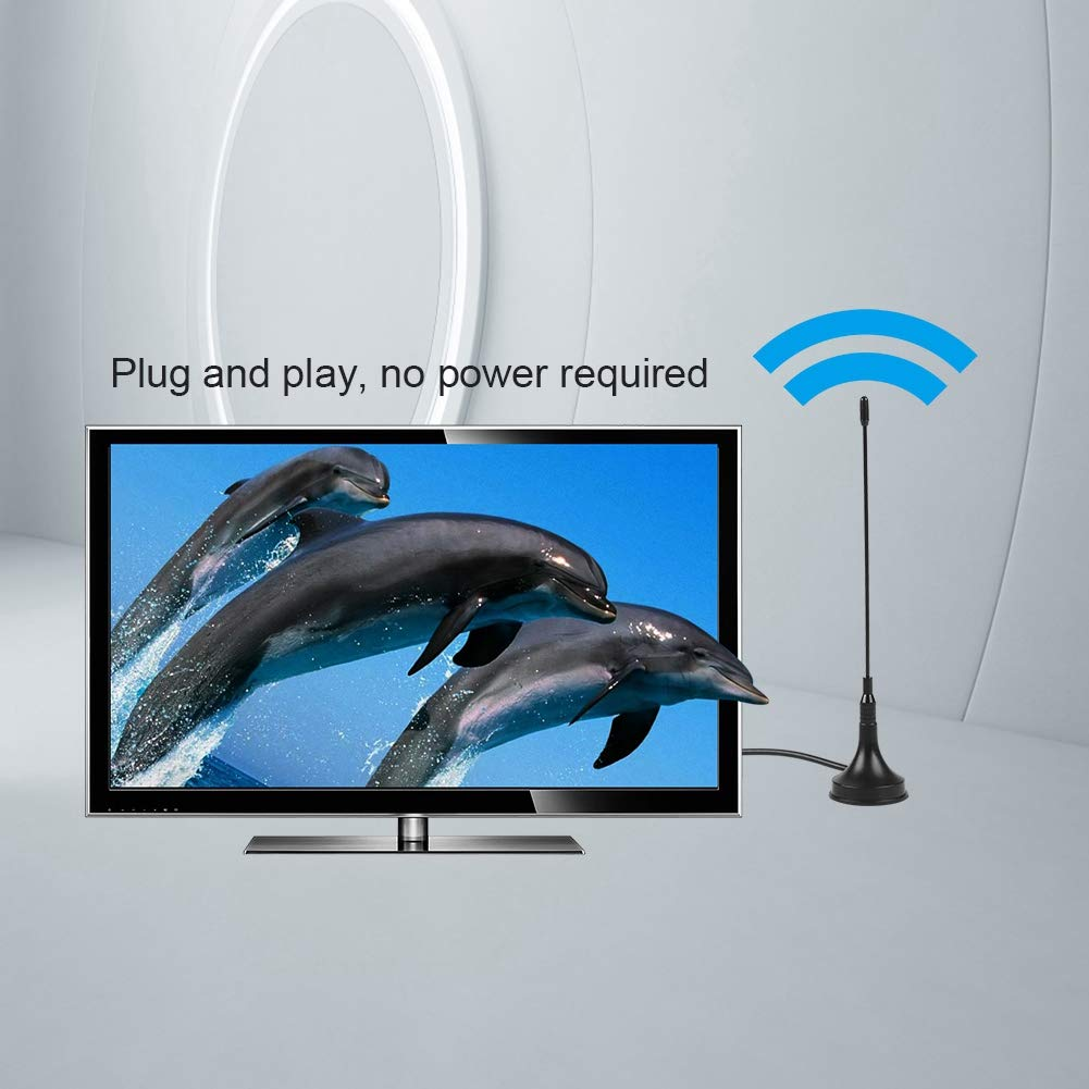 Antena Digital DVB-T HDTV para Interiores Cable de instalaci/ón magn/ético de Banda Dual UHF//VHF para Antena de Receptor de se/ñal de TV para Interiores o Exteriores con Base magn/ética 10DB