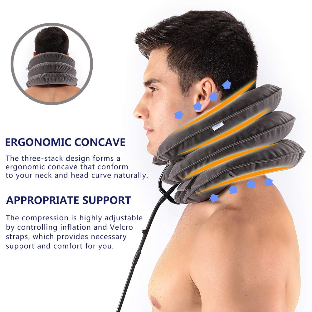 Inflatable Cervical Neck Traction Device and Collar Brace by Siwei for Instant Neck Pain Relief FDA