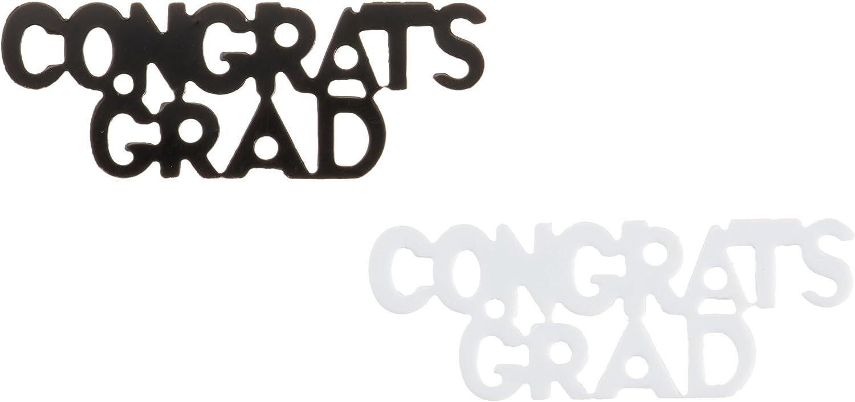 Amazon Com Congrats Grad Fanci Fetti Black White Party Accessory 1 Count 5 Oz Pkg Kitchen Dining