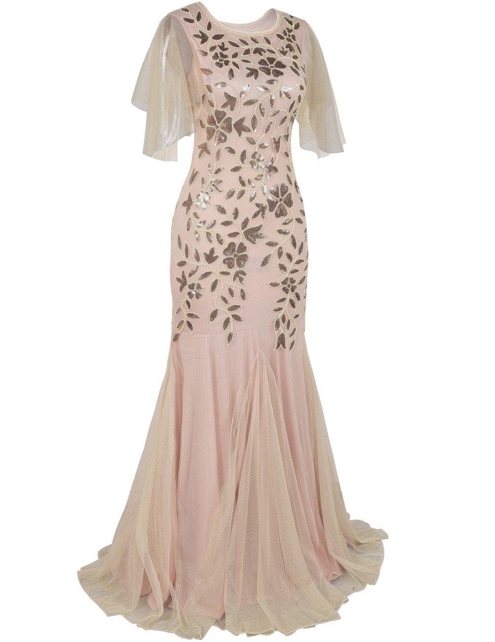 27b5b0d7c1e0 kayamiya Women's 1920s Maxi Long Prom Gowns Sequin Mermaid Hem Evening Dress  with Sleeves < Dresses < Clothing, Shoes & Jewelry - tibs