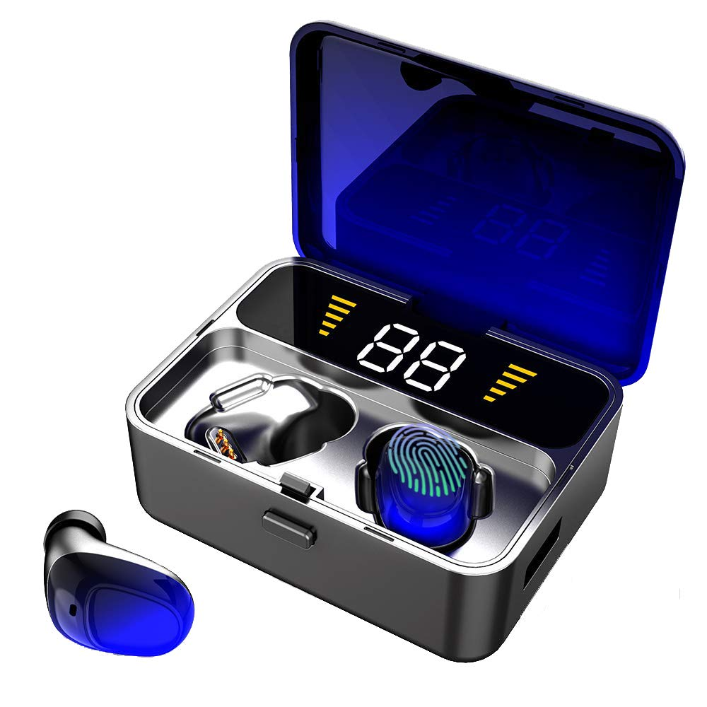 Wireless Earbuds, IPX7 Waterproof Bluetooth 5.0 EDR Headphones w Mic HD Stereo, 2000mAh Charging Case LED Battery Display 100H Playtime in-Ear, Touch-Control, True Wireless Earbuds for iOS Android