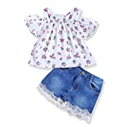 Toddler Infant Baby Girl Shorts Set Floral Ruffle Off Shoulder Tops Jeans/Denim Shorts Summer Outfits Clothing Set (White +Floral, 12-18 Months)