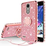 Wydan Glitter Ring Case for LG Aristo, Rebel 3 LTE, Phoenix 3, Fortune, Rebel 2 LTE, Risio 2, LG K8 2017 - Slim Hybrid Kickstand Shockproof TPU Phone Cover Rose Gold