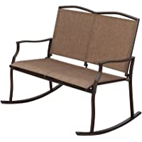 SunLife Outdoor Rocking Chair for 2 Person, Patio Patio Bistro Garden Party Bars Cafe Loveseat Swing Glider Bench