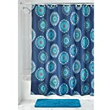 "InterDesign 63621 Padma Medallion Fabric Shower Curtain - 72"" X 72"", Blue Multi Color"
