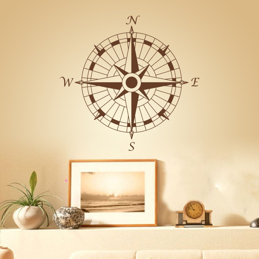 Amazon.com: Compass Nautical Modern Design Vinly Compass Rose Decal ...