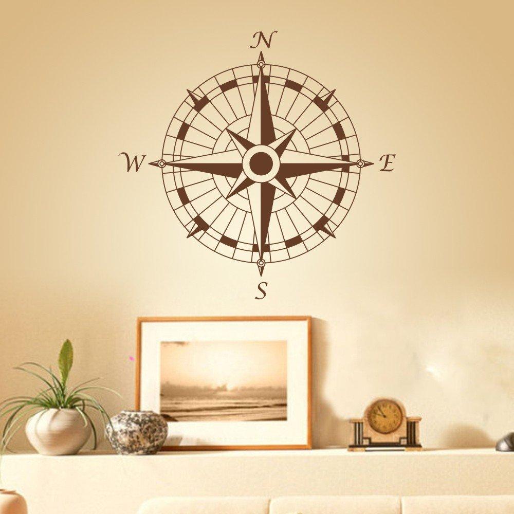 Compass Wall Decal Vinyl Compass Wall Sticker Compass Rose Wall ...