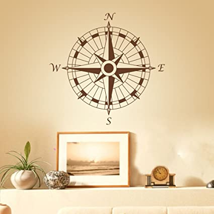 Amazon.com: Compass Wall Decal Vinyl Compass Wall Sticker Compass ...