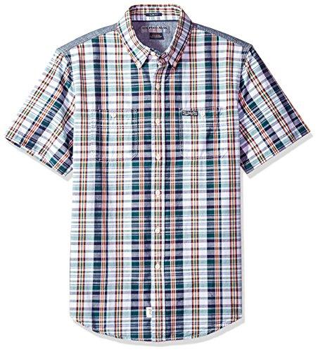 U.S. Polo Assn. Men's Short Sleeve Slim Fit Plaid Shirt, Dunes Green GGLH, L