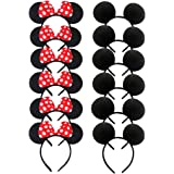 DH Minnie & Mickey Mouse Ear and Red Bow Headband for Girls Birthday Costume Party (12 pcs pack)
