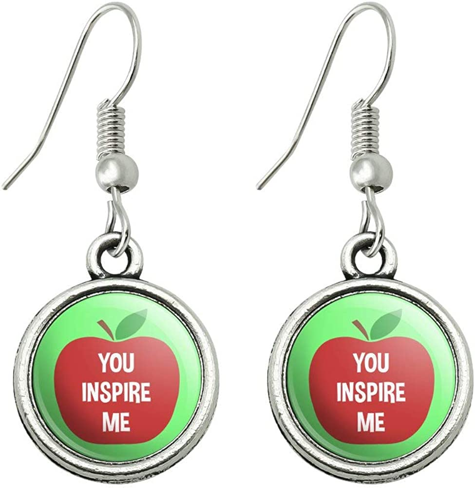 GRAPHICS & MORE You Inspire Me Teacher Apple Novelty Dangling Drop Charm Earrings