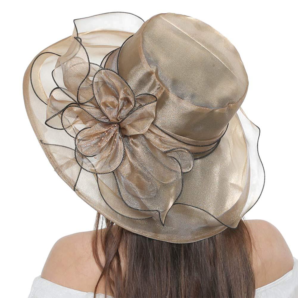 AMOYER Womens Foldable Organza Church Derby Hat Fascinator Bridal Tea Party Wedding Hat