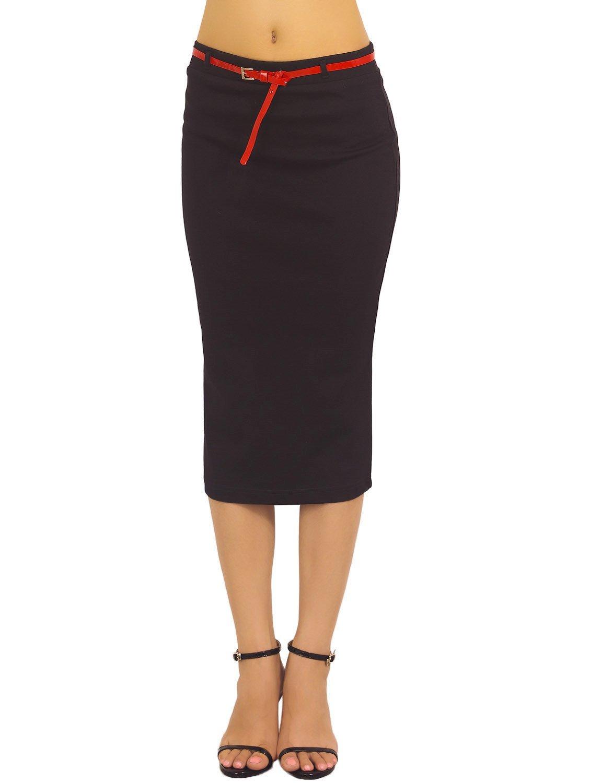 iB-iP Mujer Bodycon Elástica Slim Fit Midi Suave Ven Cintura Alta Falda De Tubo