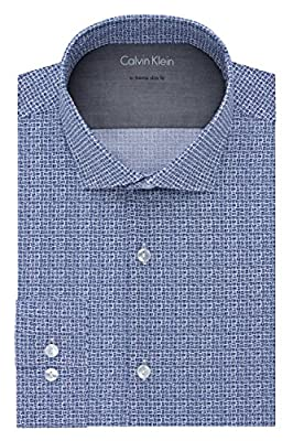 Calvin Klein Men's Stretch Xtreme Slim Fit Print Spread Collar Dress Shirt