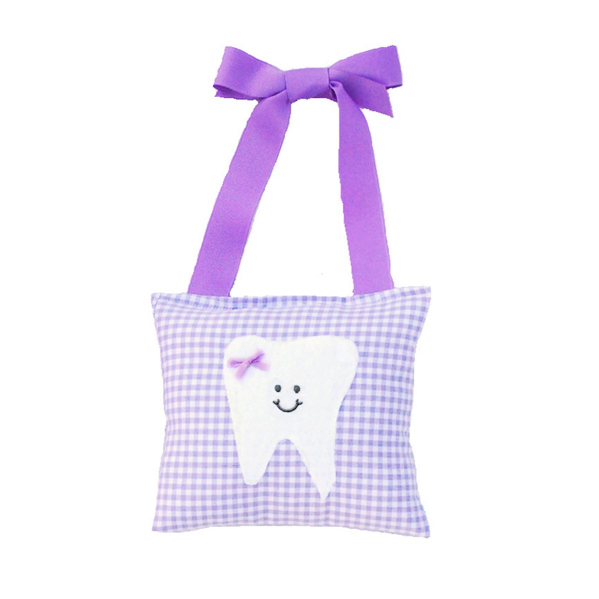 Girl's Tooth Fairy Pillow in Lilac Gingham Print Tooth Fairy Pillow Shop SYNCHKG060962