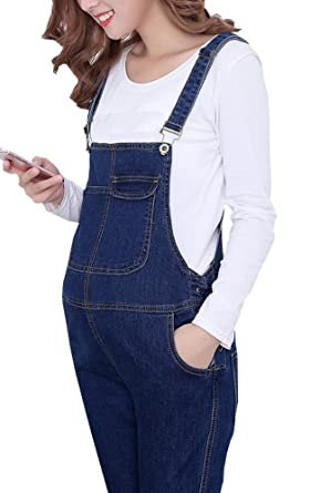 b84953f7e9f02 Amazon.com: Foucome Plus Size Maternity Overalls Front Pocket Denim Jumpsuit  with Adjustable Drawstring: Clothing