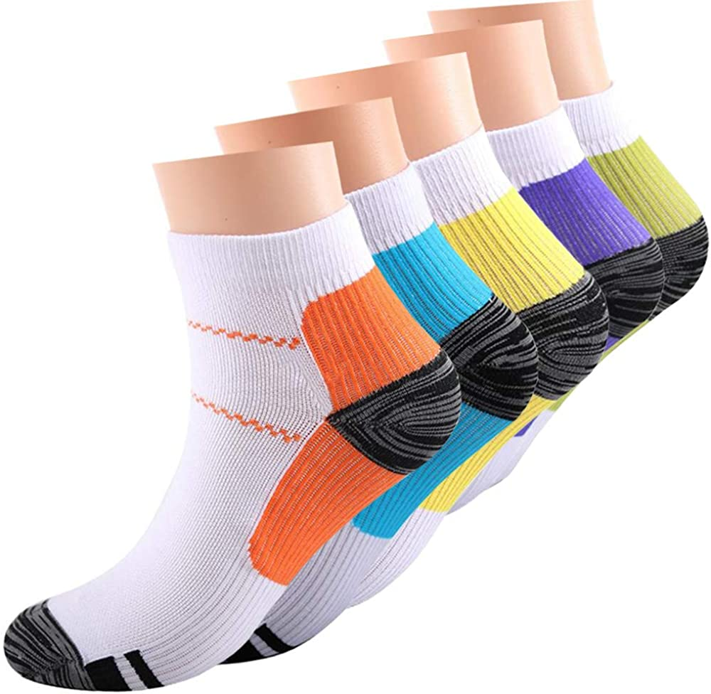 5 Pairs Athlete Sports Socks Best for Running,Travel,Medical Circulation Recovery 15-20mmHg Compression Socks Women and Men