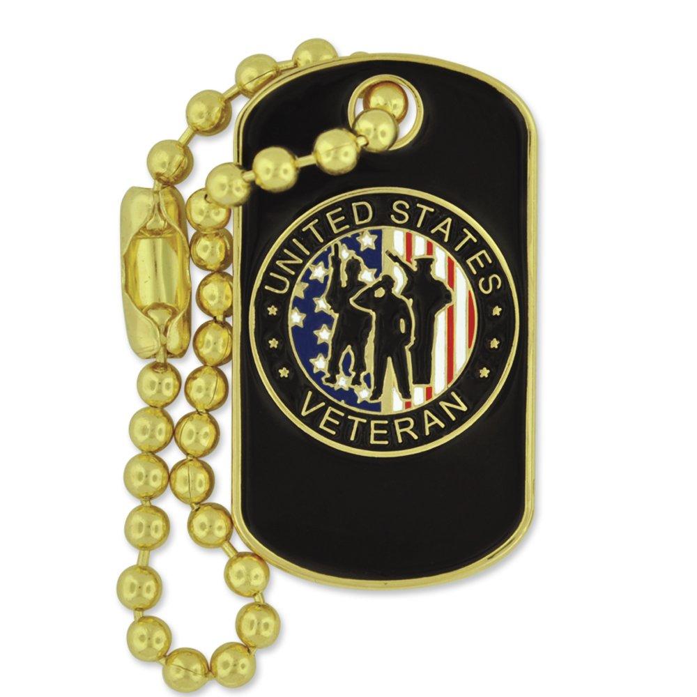 PinMart's Patriotic Veteran Dog Tag Key Chain Enamel lapel Pin
