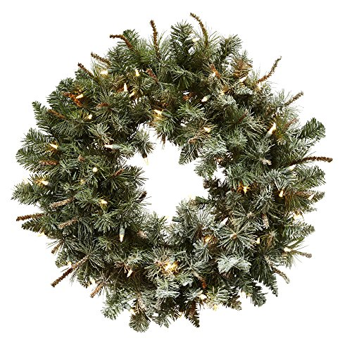 "Nearly Natural 30"" Lighted Frosted Pine Wreath"