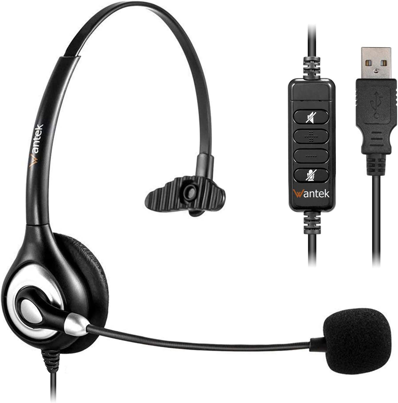 Corded USB Headsets Mono with Noise Cancelling Mic and in-line Controls, Wantek UC Business Headset for Skype, SoftPhone, Call Center, Crystal Clear Chat, Super Lightweight, Ultra Comfort (UC600)
