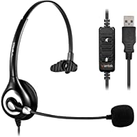 Corded USB Headsets Mono with Noise Cancelling Mic and in-line Controls, Wantek UC Business Headset for Skype, SoftPhone…