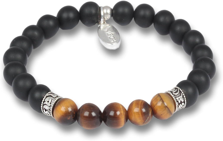 Anisch de la Cara Hombre Pulsera Tigereye - Pulsera de Piedras Preciosas de Cuentas de Mantra para Hombres con Plata de Ley, 8 mm Mantra Beads - Arte no 93350-a