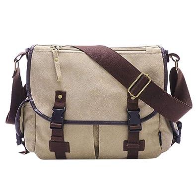 efa35227a Men Women's Vintage Canvas Leather Satchel School Shoulder Bag Messenger Bag,oilcloth  tote bags for