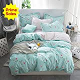 OTOB Floral Kids Girls Twin Bedding Sets for Teen Toddler Blue Reversible Flower Duvet Cover Set Twin Cotton