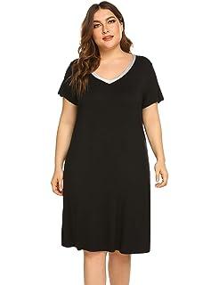 8535532fae IN VOLAND Plus Size Nightgowns Women V Neck Sleep Shirt Short Sleeve  Nightdress Pajama Sleepwear